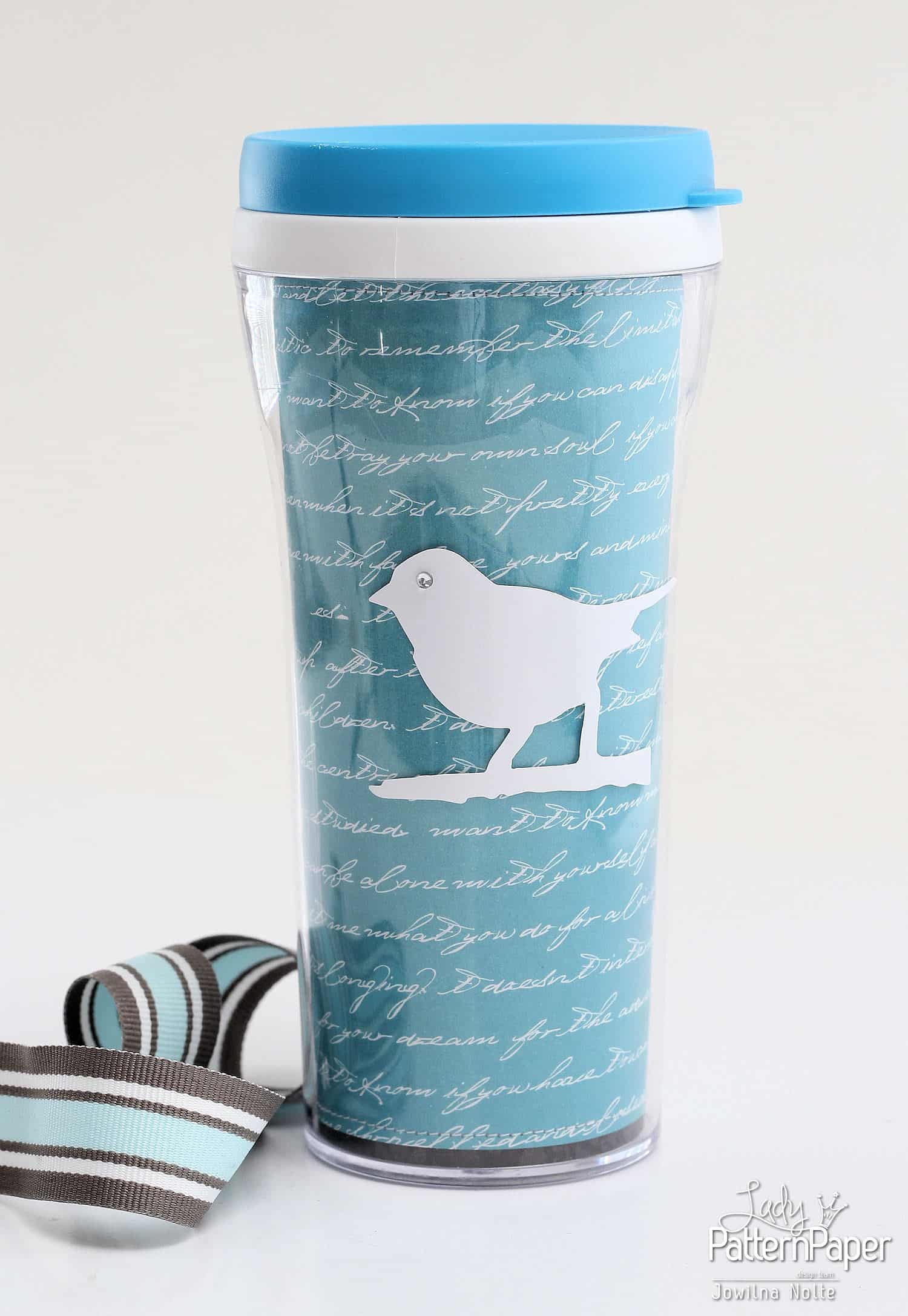 Altered Drinking Cup - Lady Pattern Paper