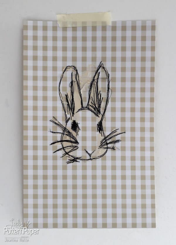 Sew on Paper - Sewn Bunny Art
