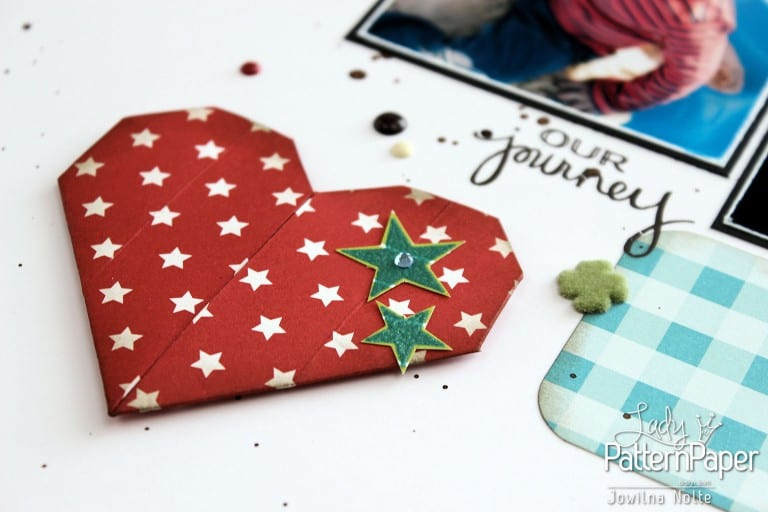 Origami Heart On Scrapbooking Layout
