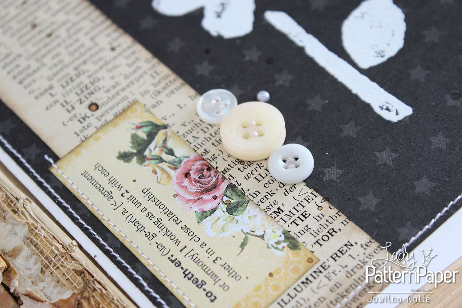 Black And White Vintage Cards - Little Star Detail