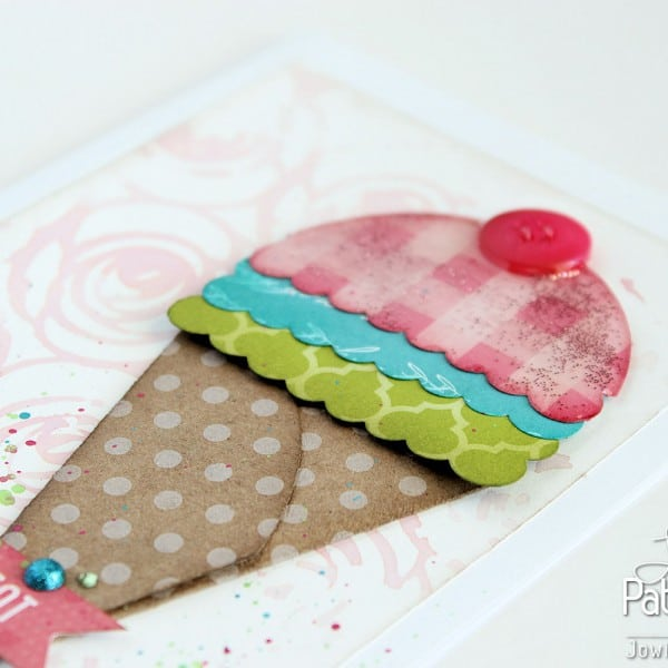 Punched Shaped Card - Pink Mary Gingham