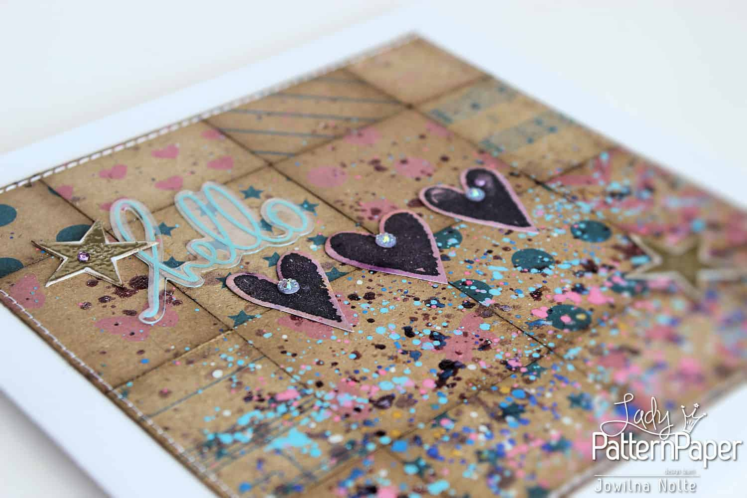 Handmade Quilted Kraft Card - Hearts