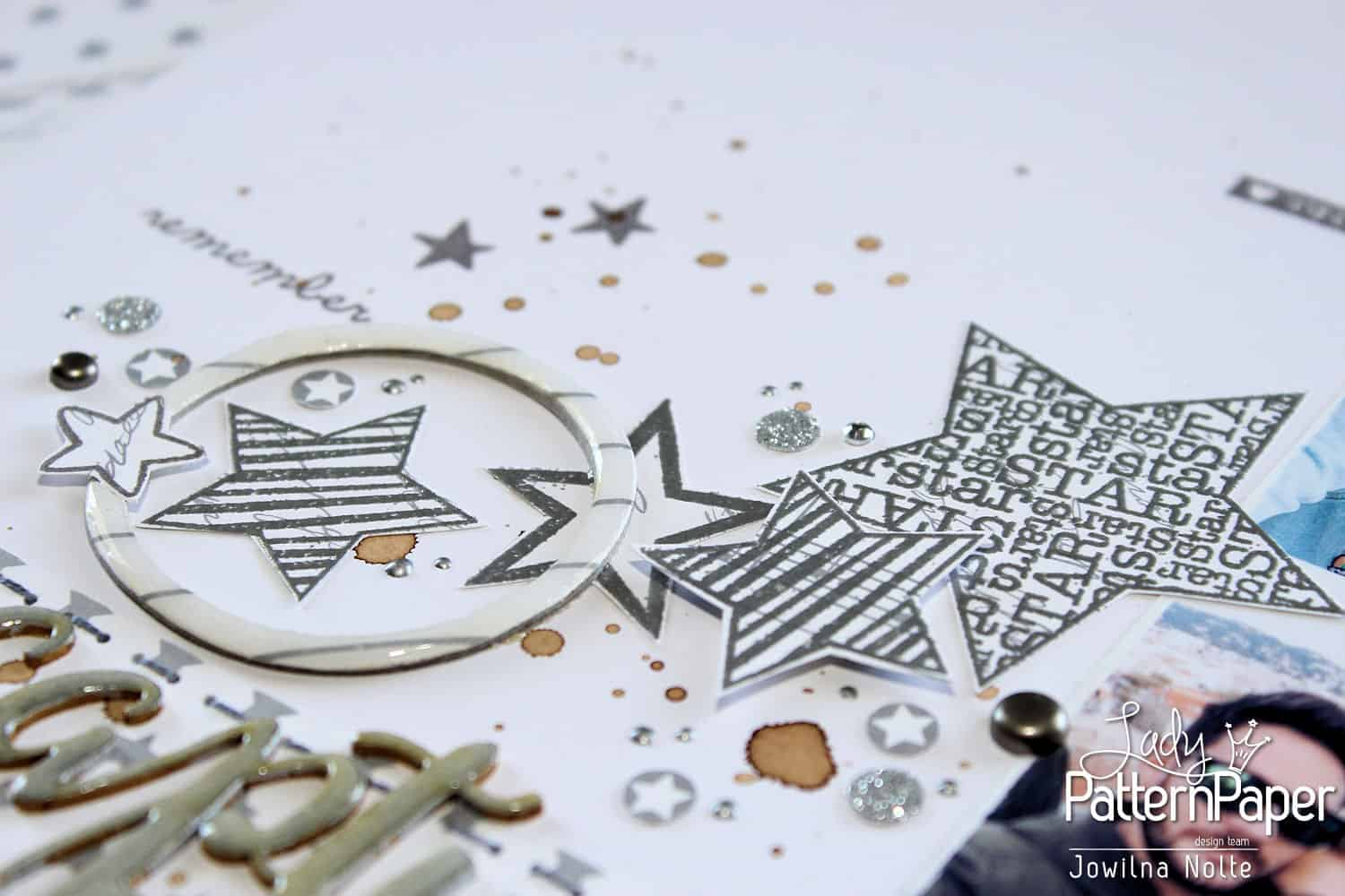 metallic silver and white - embossed stars