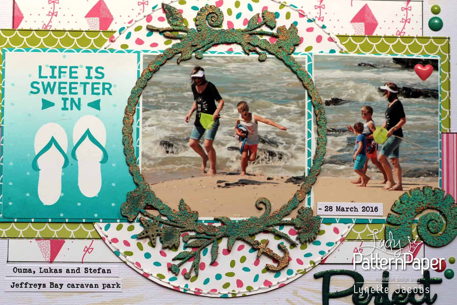 Life Is Sweeter in Flip Flops Layout - Stitching