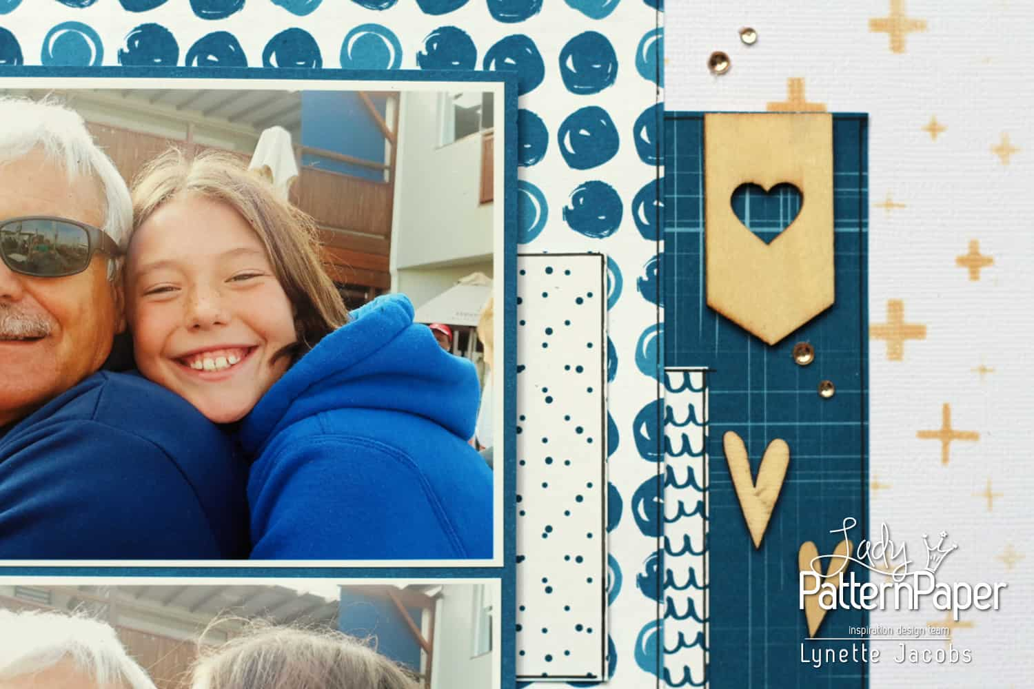Lynettes Dazzling Blue Layout - Hearts