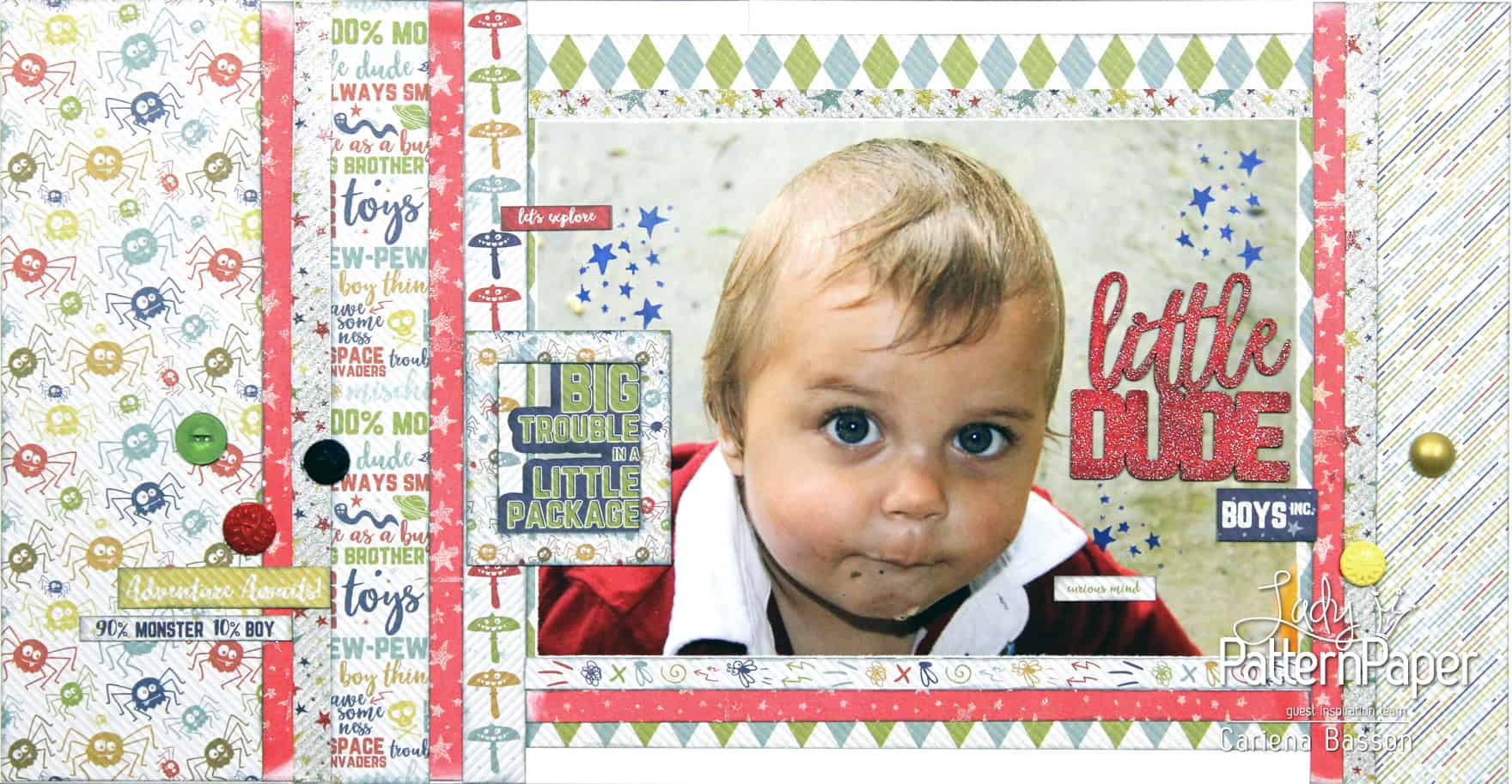 Little Dude Scrapbook Layout - Cariena