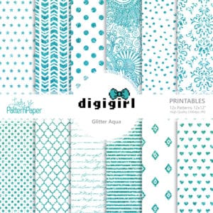 DigiGirl Glitter Aqua - Digital Papers