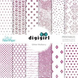 DigiGirl Glitter Mulberry - Digital Papers