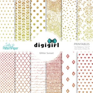 DigiGirl Glitter Sunset - Digital Papers