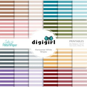 DigiGirl Horizontal White Stripes Digital Papers