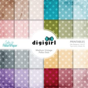 DigiGirl Medium Vintage Polka Dots Digital Papers