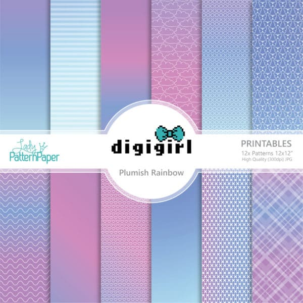 DigiGirl Plumish Rainbow Digital Papers