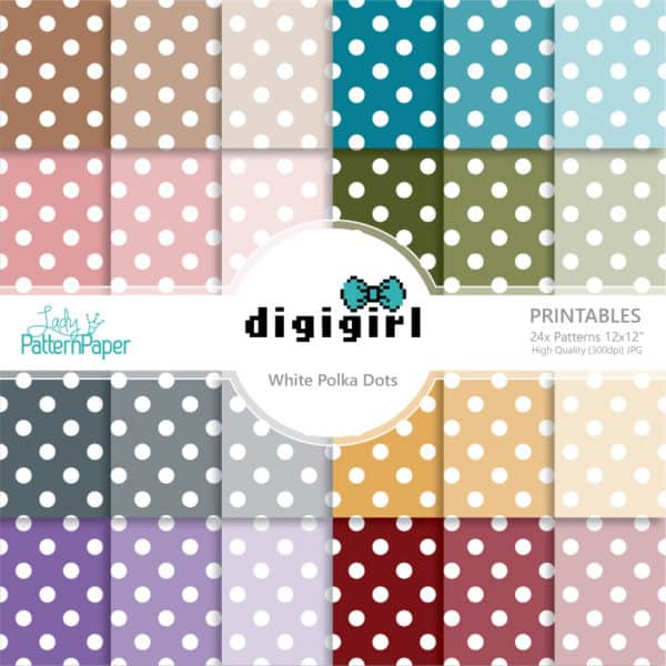 DigiGirl Medium White Polka Dots Digital Papers