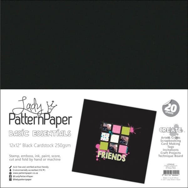 LPPB0049 - Smooth Black Cardstock - 250gsm-20-Pack