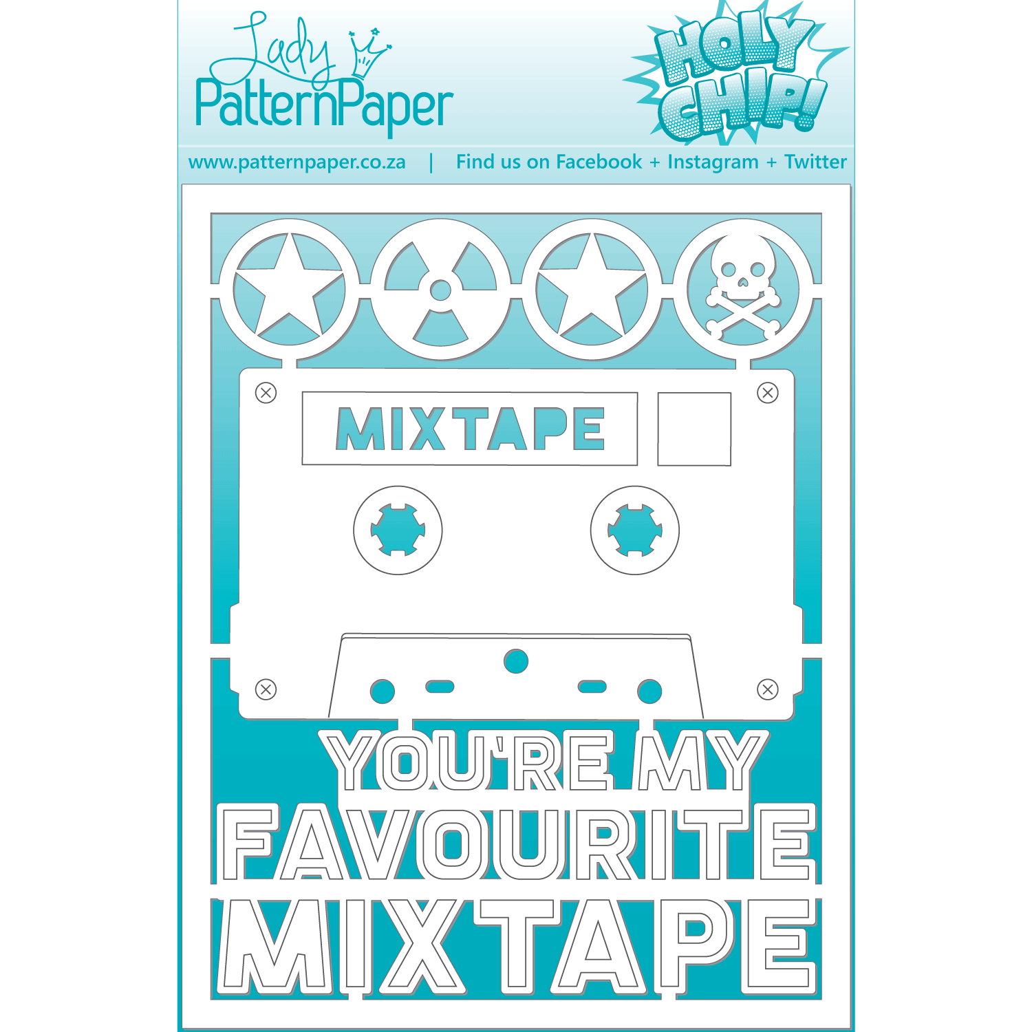 LPPC0026 - Awesome Mixtape Chipboard Set - 95x120mm