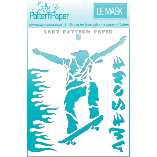 LPPM0022 - Awesome Skater Stencil - 95x120mm